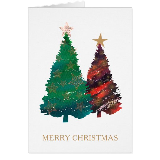Hand Painted Sparkly Watercolor Christmas Trees Card