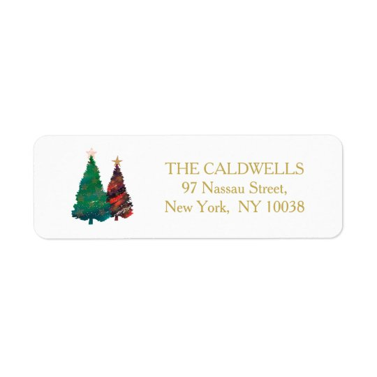 Hand Painted Sparkly Watercolor Christmas Trees Return Address Label