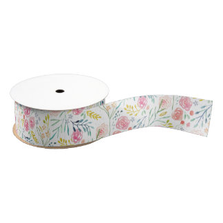 Hand-Painted Spring Floral Grosgrain Ribbon