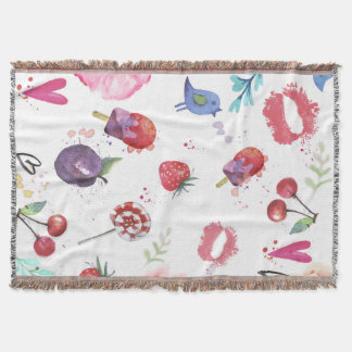 Hand painted summer background Throw Blanket