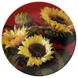 Hand painted sunflower decorative porcelain plate