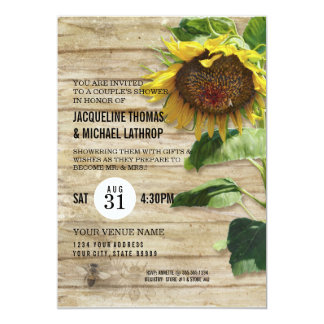 Hand Painted Sunflower Wooden Fence Bees Hive 13 Cm X 18 Cm Invitation Card