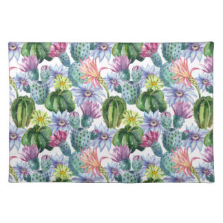 Hand Painted Watercolor Cactus Pattern Placemat
