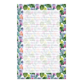 Hand Painted Watercolor Cactus Pattern Stationery