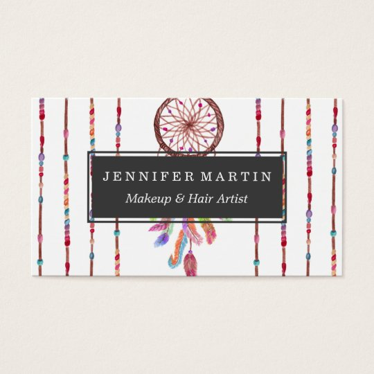 Hand Painted Watercolor Dreamcatcher Beads Feather Business Card
