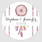 Hand Painted Watercolor Dreamcatcher Beads Feather Classic Round Sticker