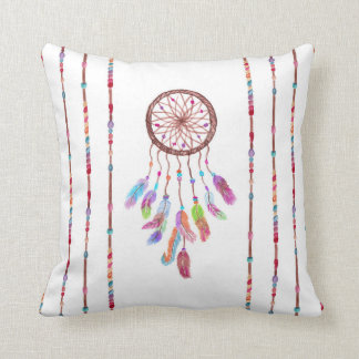 Hand Painted Watercolor Dreamcatcher Beads Feather Cushion