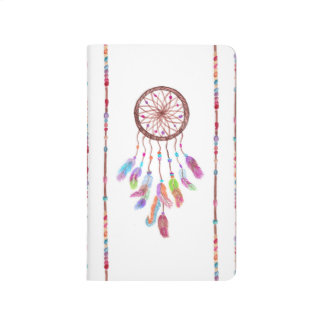 Hand Painted Watercolor Dreamcatcher Beads Feather Journal