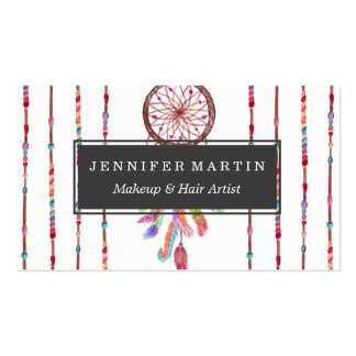 Hand Painted Watercolor Dreamcatcher Beads Feather Pack Of Standard Business Cards
