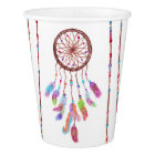Hand Painted Watercolor Dreamcatcher Beads Feather Paper Cup