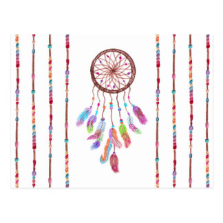 Hand Painted Watercolor Dreamcatcher Beads Feather Postcard