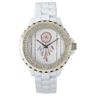 Hand Painted Watercolor Dreamcatcher Beads Feather Wrist Watch