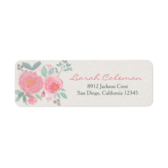 Hand painted watercolor floral return address