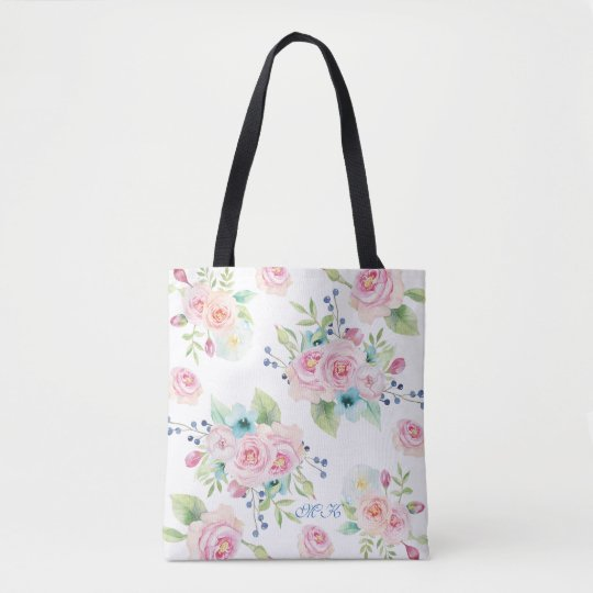 Hand painted Watercolor Flowers Custom Monogram Tote Bag