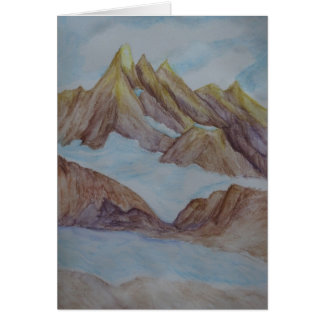 Hand-painted Watercolor Mountain Scene Card