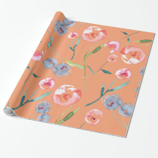 Hand-Painted Watercolor Roses Wrapping Paper