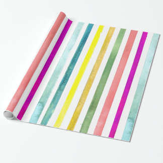 Hand-Painted Watercolor Stripes Gift Wrap