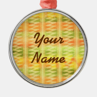 Hand-Painted Watercolor Stripes Pomo Zigzag Tribal Christmas Ornament