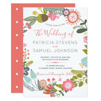 Hand painted wildflowers meadow wreath wedding card