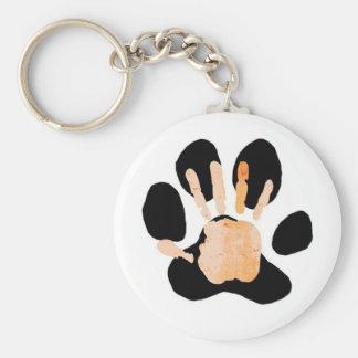 hand paw print basic round button key ring