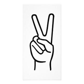 Hand peace custom photo card