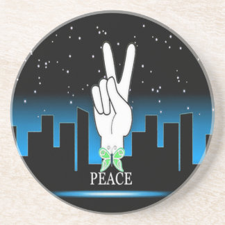 Hand Peace Symbol with a City Background Drink Coaster