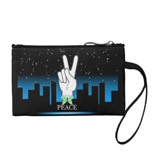 Hand Peace Symbol with a City Background Coin Purse