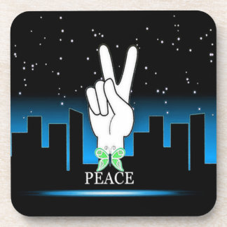 Hand Peace Symbol with a City Background Drink Coasters