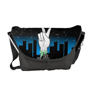 Hand Peace Symbol with a City Background Courier Bag