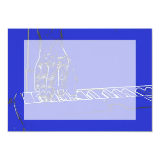 hand playing keyboard blue white ink outline 13 cm x 18 cm invitation card