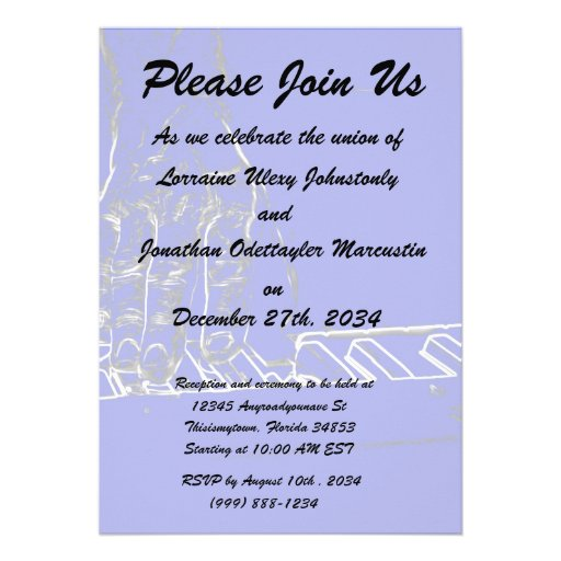 hand playing keyboard blue white ink outline personalized invitation