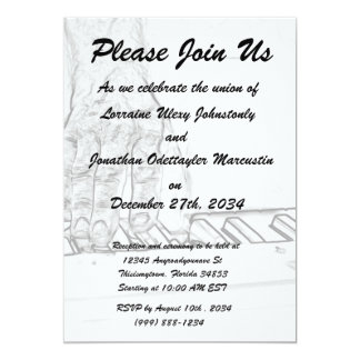 hand playing keyboard bw ink outline 13 cm x 18 cm invitation card