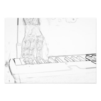hand playing keyboard bw ink outline personalized invitation
