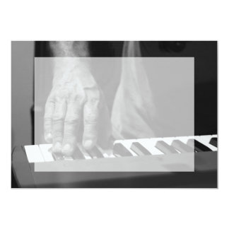 hand playing keyboard bw male music 13 cm x 18 cm invitation card