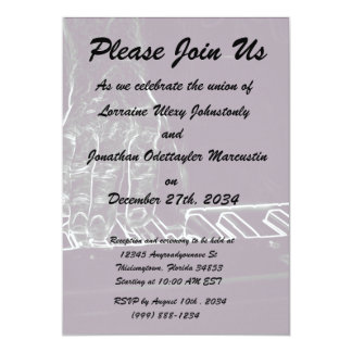 hand playing keyboard purple white ink outline 13 cm x 18 cm invitation card