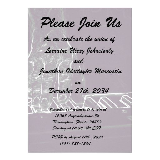 hand playing keyboard purple white ink outline personalized invite