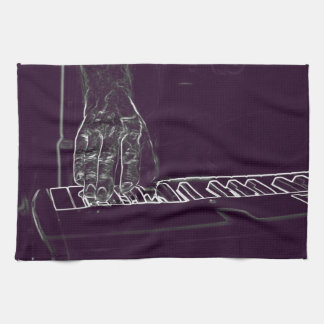 hand playing keyboard purple white ink outline towel