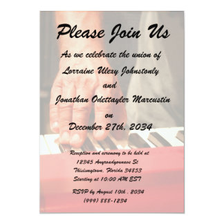 hand playing red keyboard male musician 13 cm x 18 cm invitation card