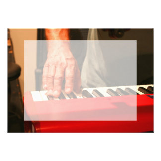 hand playing red keyboard male musician invitation