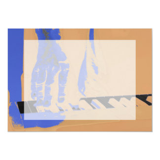 hand playing red keyboard orange blue male music 13 cm x 18 cm invitation card