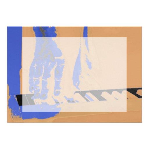 hand playing red keyboard orange blue male music invitation