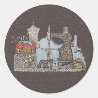 Hand Powered Sewing Machine Classic Round Sticker