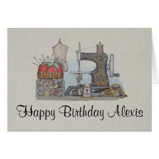 Hand Powered Sewing Machine Greeting Card