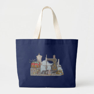 Hand Powered Sewing Machine Large Tote Bag