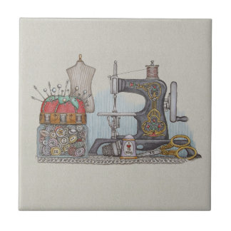 Hand Powered Sewing Machine Small Square Tile