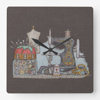 Hand Powered Sewing Machine Square Wall Clock