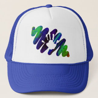 hand print trucker hat