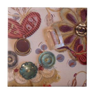 Hand Printed And Sewn Design Ceramic Tile