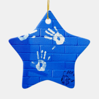 hand prints ceramic star decoration