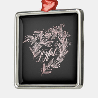 hand script joyful Holiday Ornament